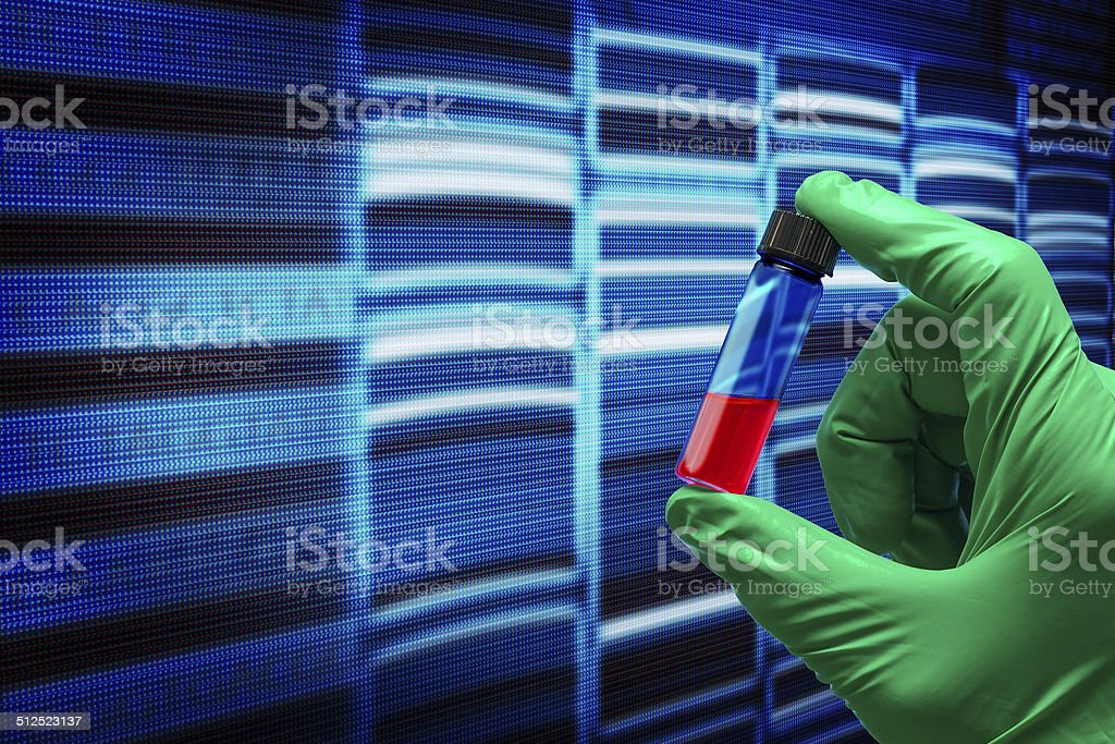 research of the sequence of the genetic code stock photo