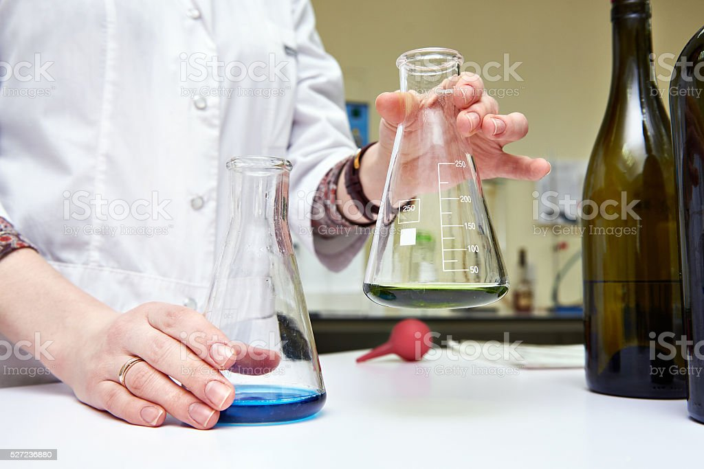 Research of wine materials in laboratory stock photo