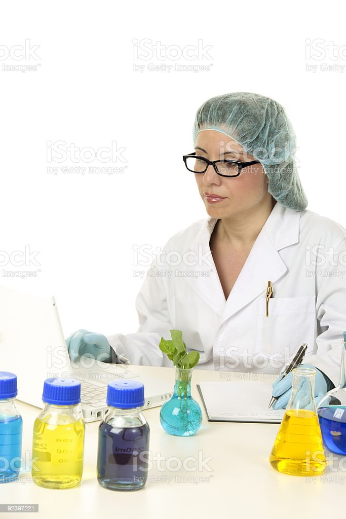 Research scientist using computer royalty-free stock photo