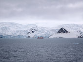 Research ship ancored at Admiralty Bay, King George Island, Antarctica.