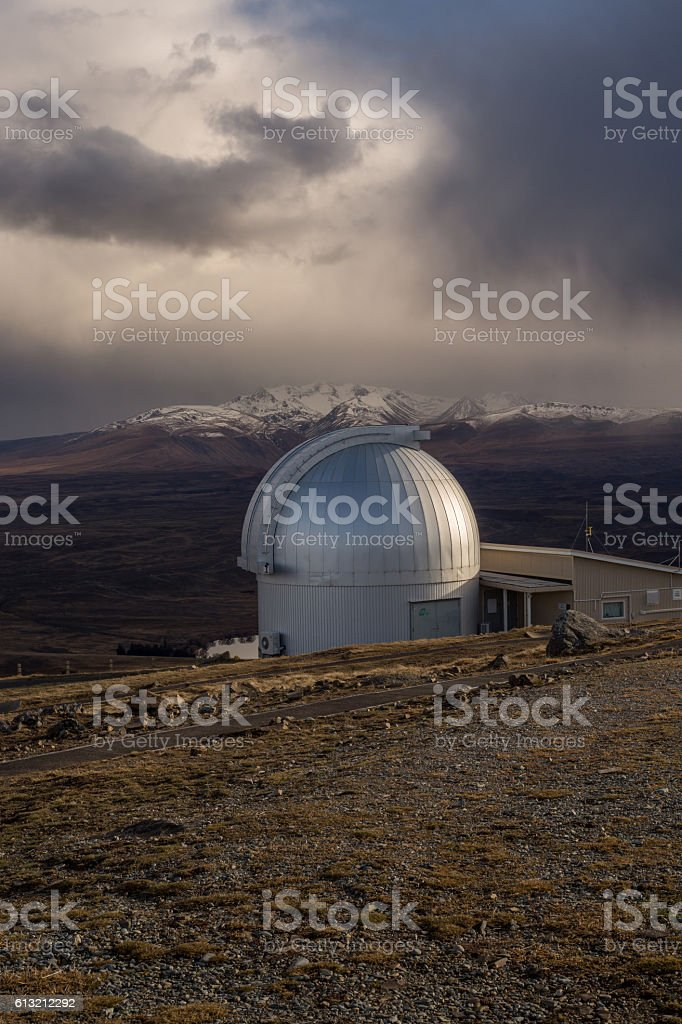Research telescopes in Tekapo, New Zealand stock photo
