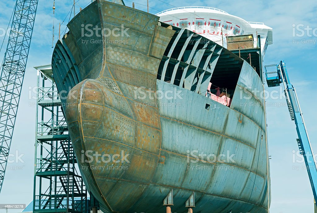 Research vessel under construction in shipbuilding yard stock photo