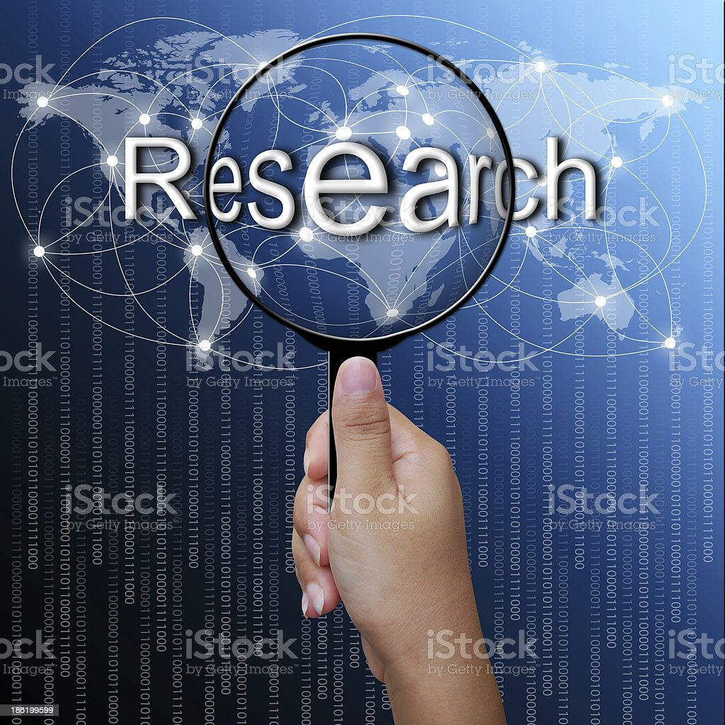 Research, word in Magnifying glass,network background royalty-free stock photo