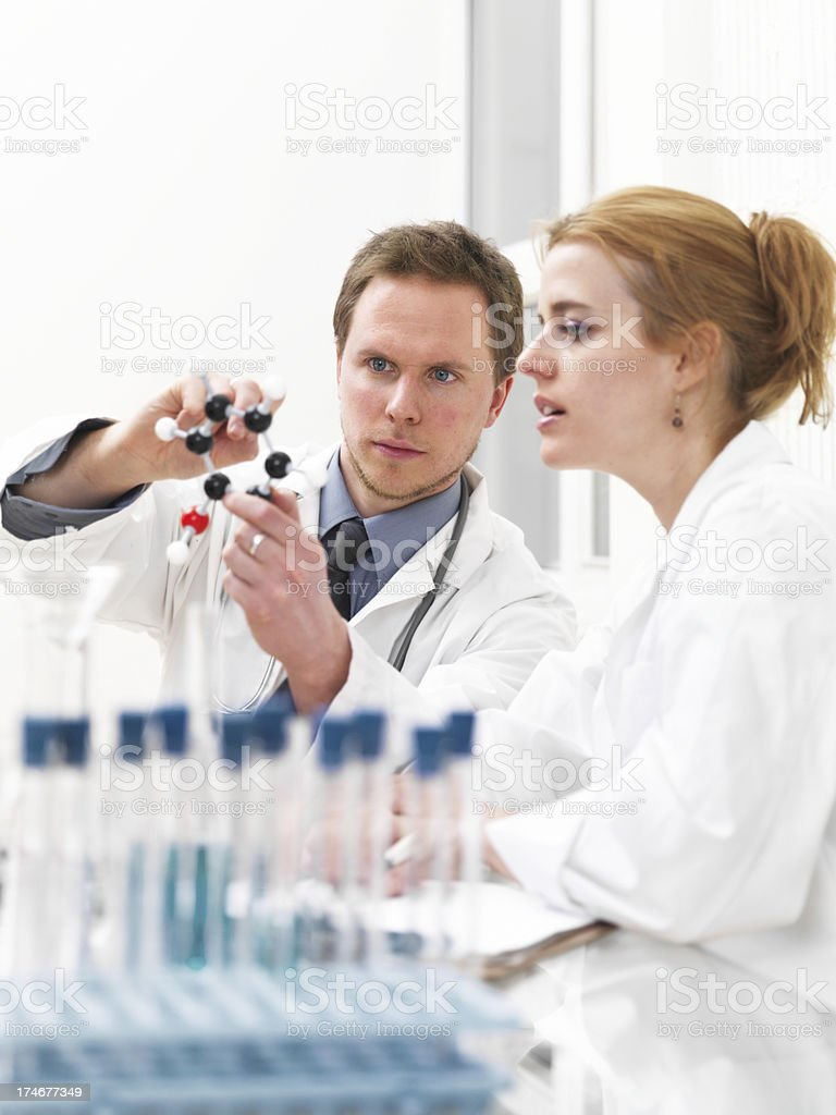 Researcher and doctor looking at a molecular structure royalty-free stock photo