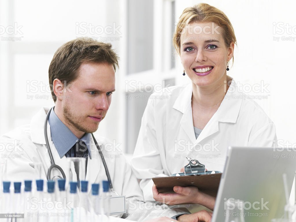 Researcher and doctor royalty-free stock photo