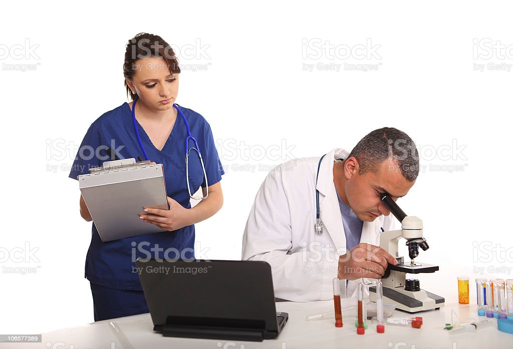 Researchers in laboratory royalty-free stock photo