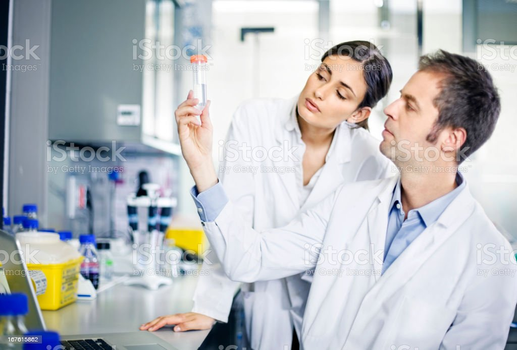 Researchers in laboratory stock photo