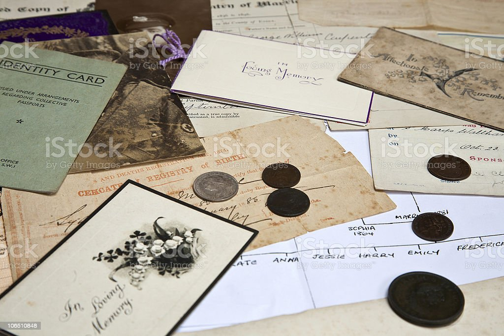 Researching Family History stock photo