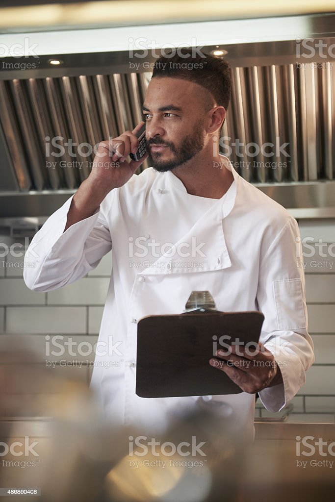 Reservation for two at seven then? stock photo