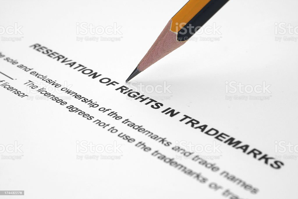Reservation of rights in trademarks royalty-free stock photo