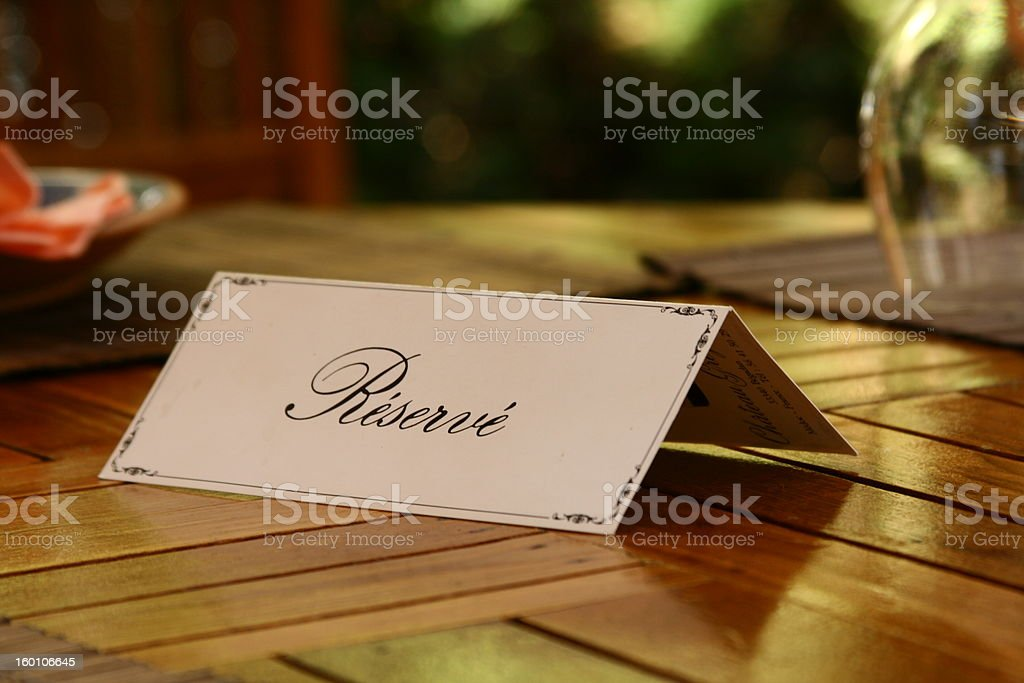 Reservation royalty-free stock photo