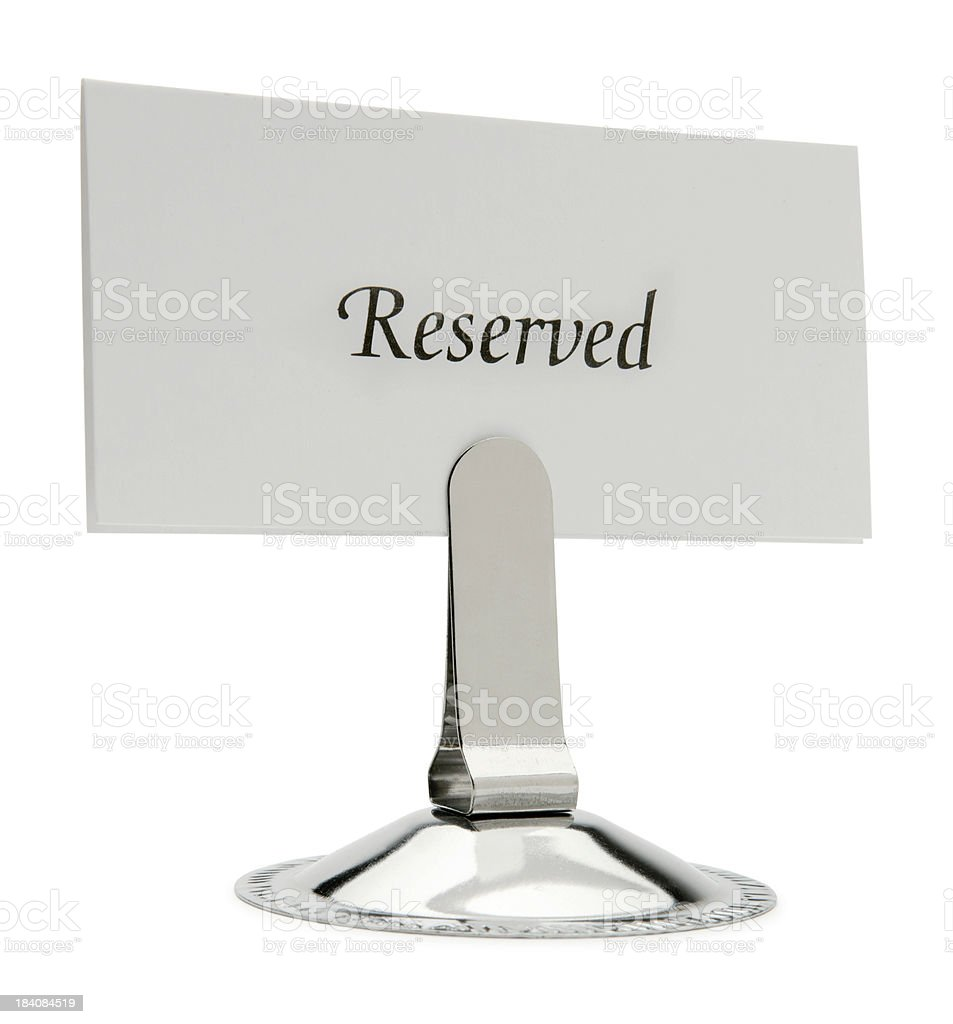 Reserved Card and Holder Isolated On White Background stock photo