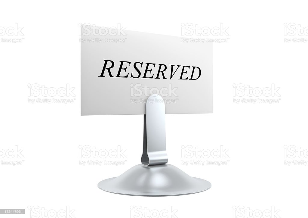 Reserved Card and Holder stock photo