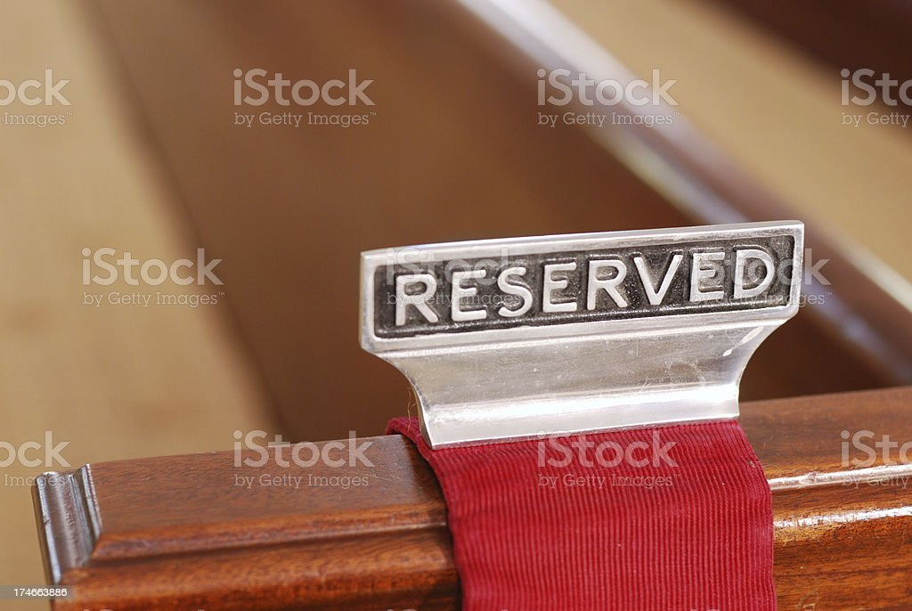 Reserved Church Pew royalty-free stock photo