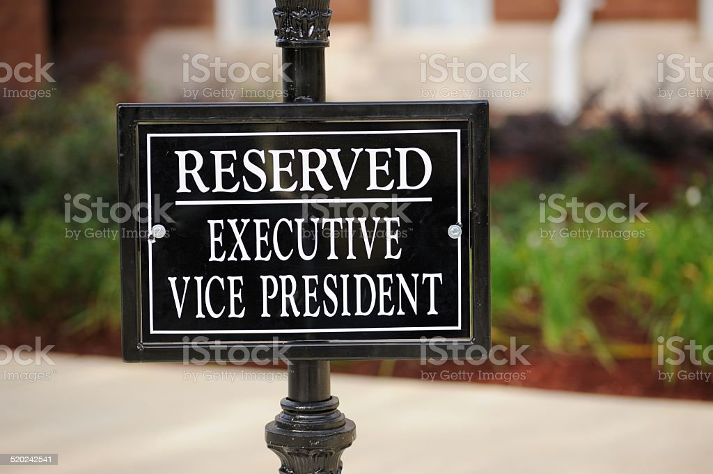 Reserved executive vice president sign stock photo
