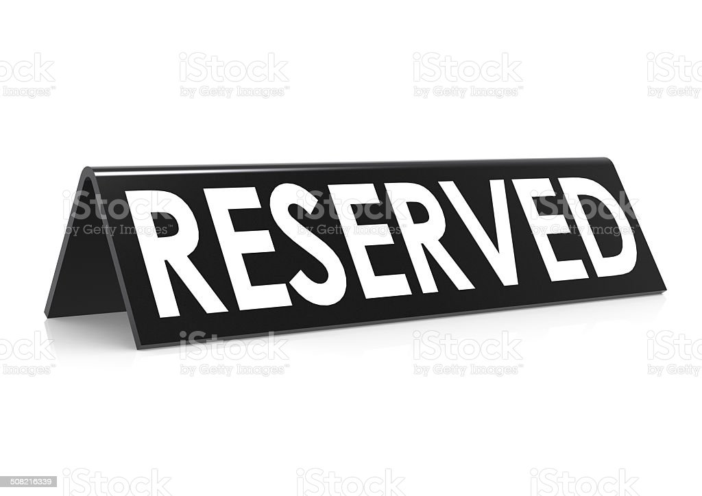 Reserved in black stock photo
