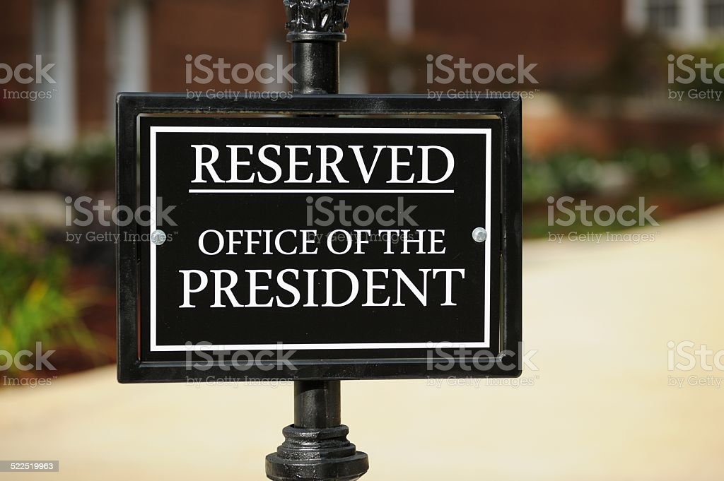 Reserved office of the president stock photo