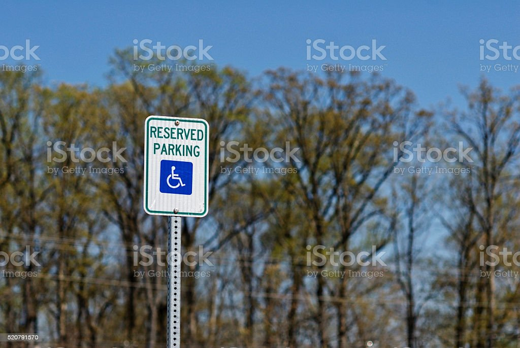 'Reserved Parking' Handicap Parking Sign stock photo