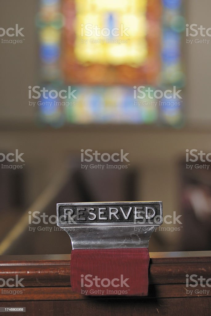 Reserved Pew royalty-free stock photo