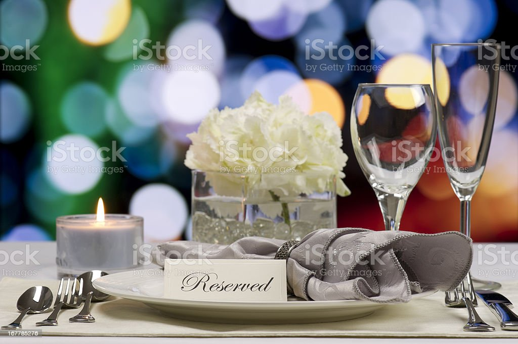Reserved place setting at a restaurant stock photo