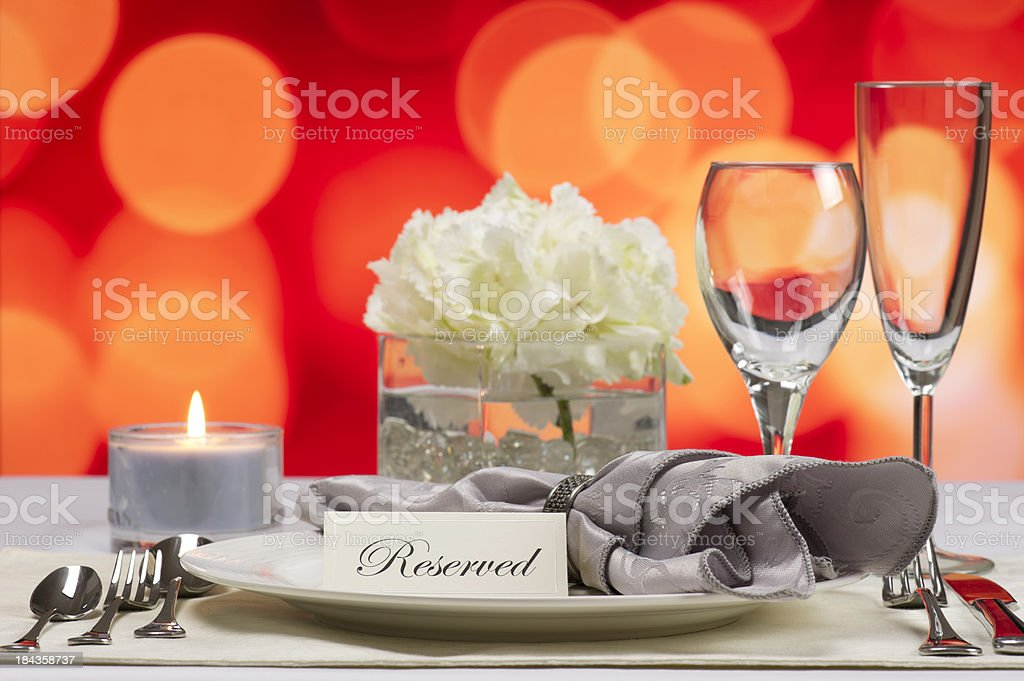 Reserved place setting at a restaurant royalty-free stock photo