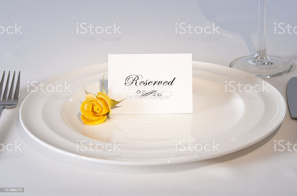Reserved Place setting with Rose royalty-free stock photo