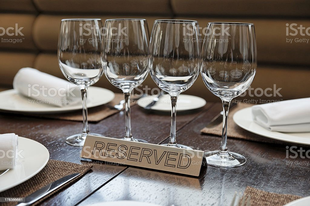 Reserved plate on an arranged table stock photo