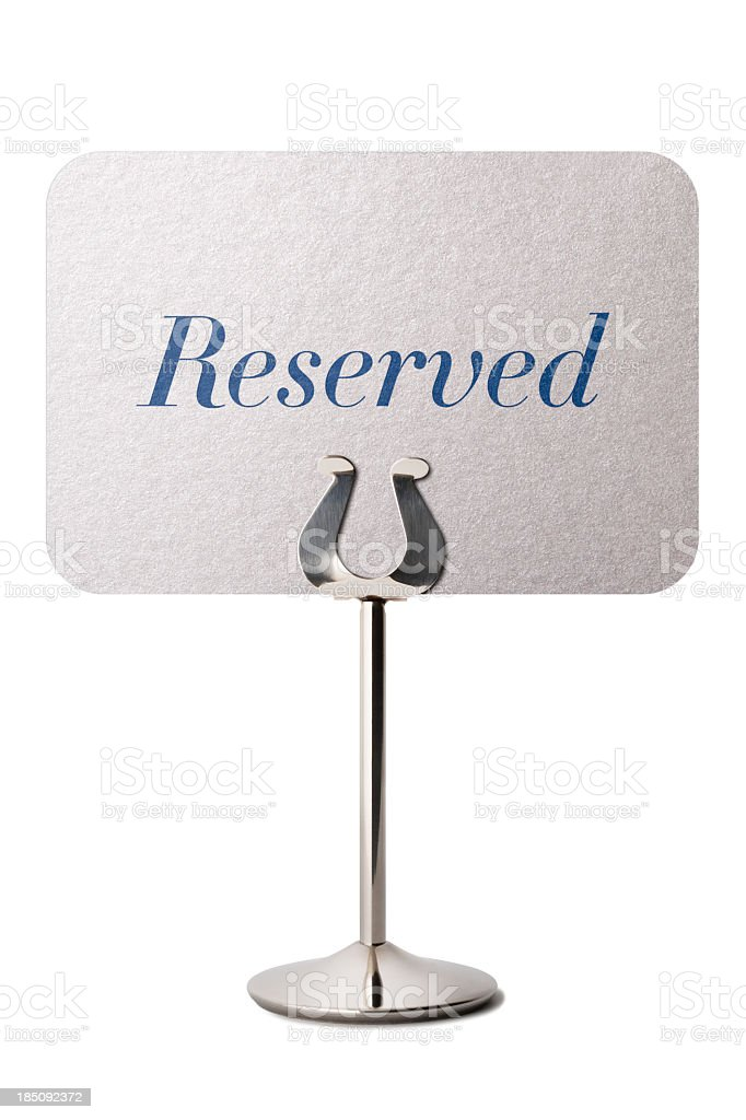 Reserved sign isolated on white stock photo