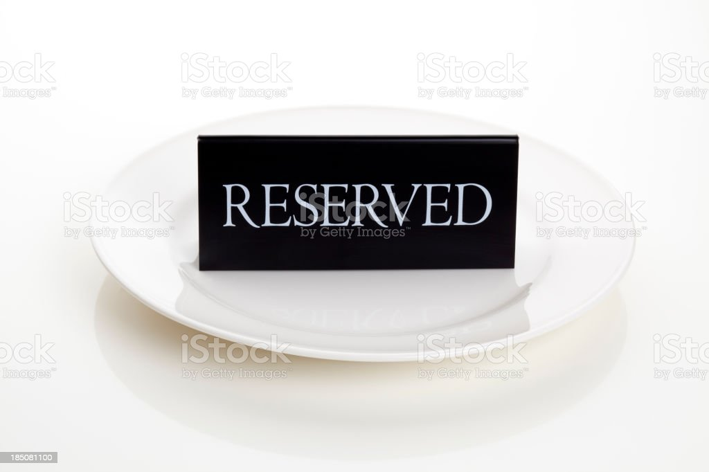 Reserved sign on Plate royalty-free stock photo