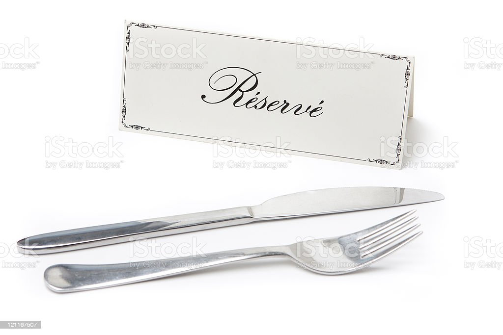 Reserved sign with fork and knife stock photo