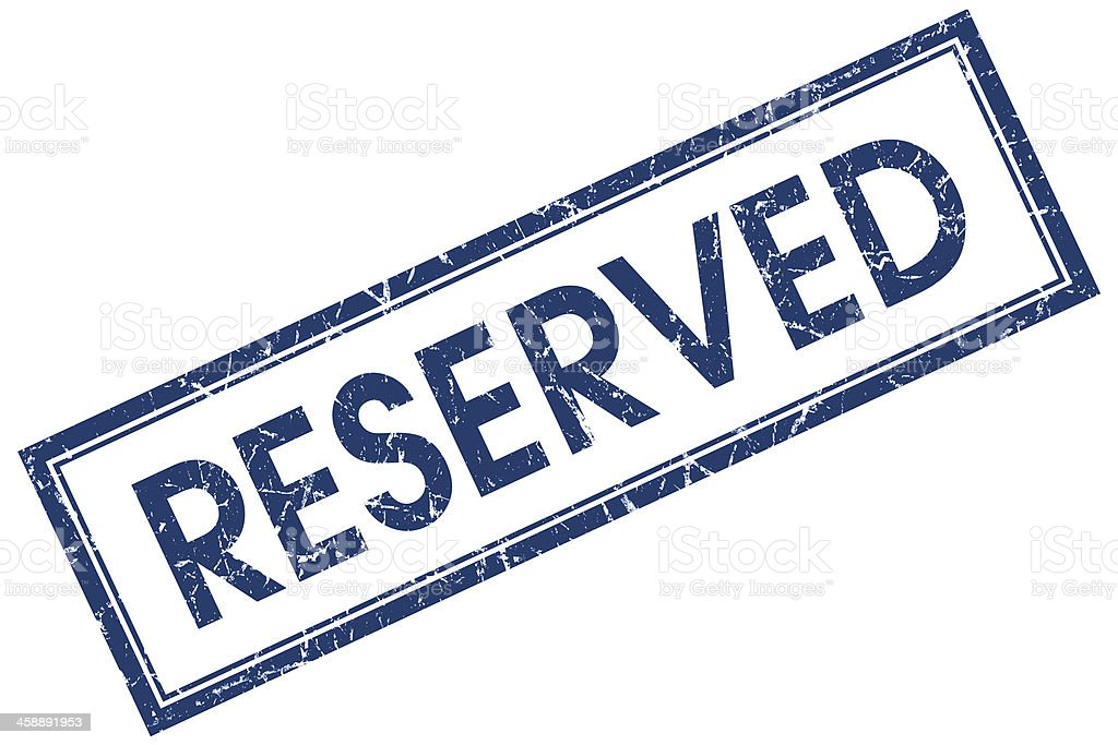 reserved square blue grunge stamp stock photo