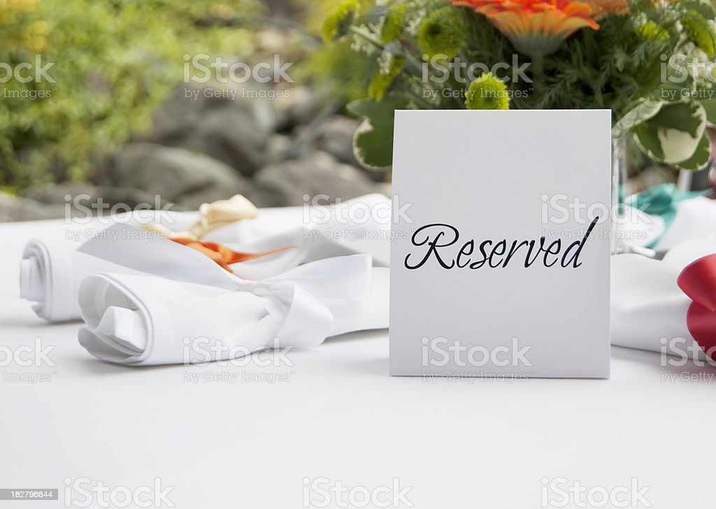 Reserved Table at Wedding Reception stock photo