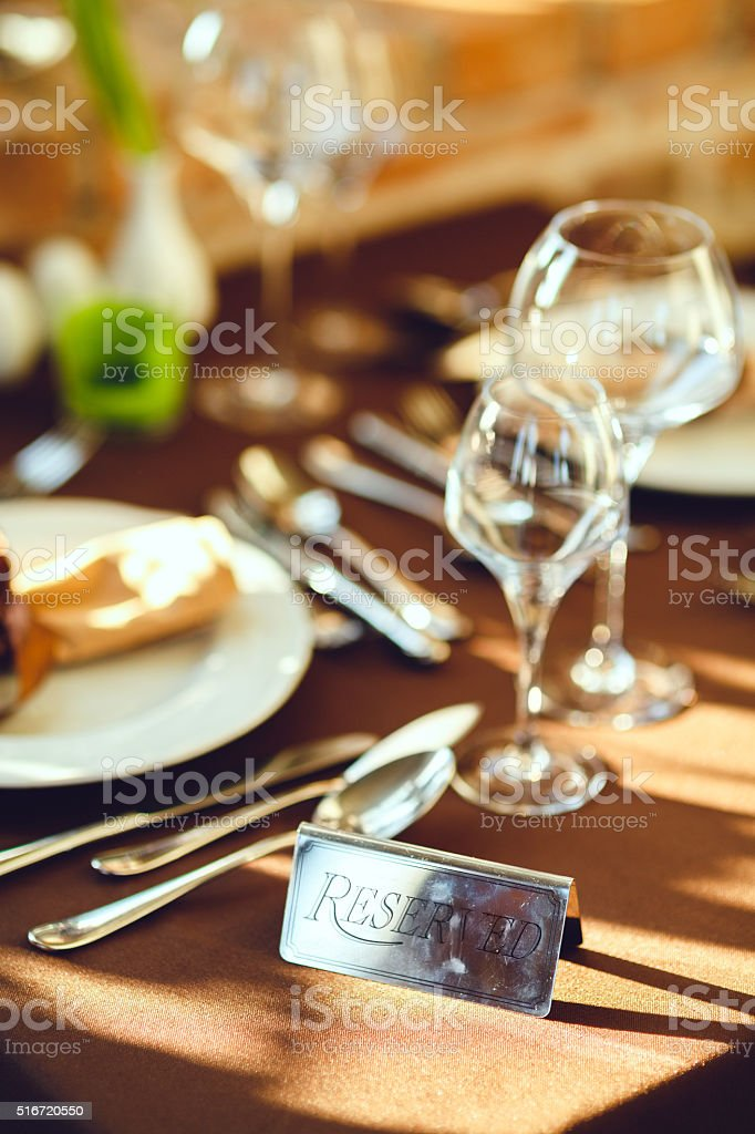 Reserved table for two stock photo