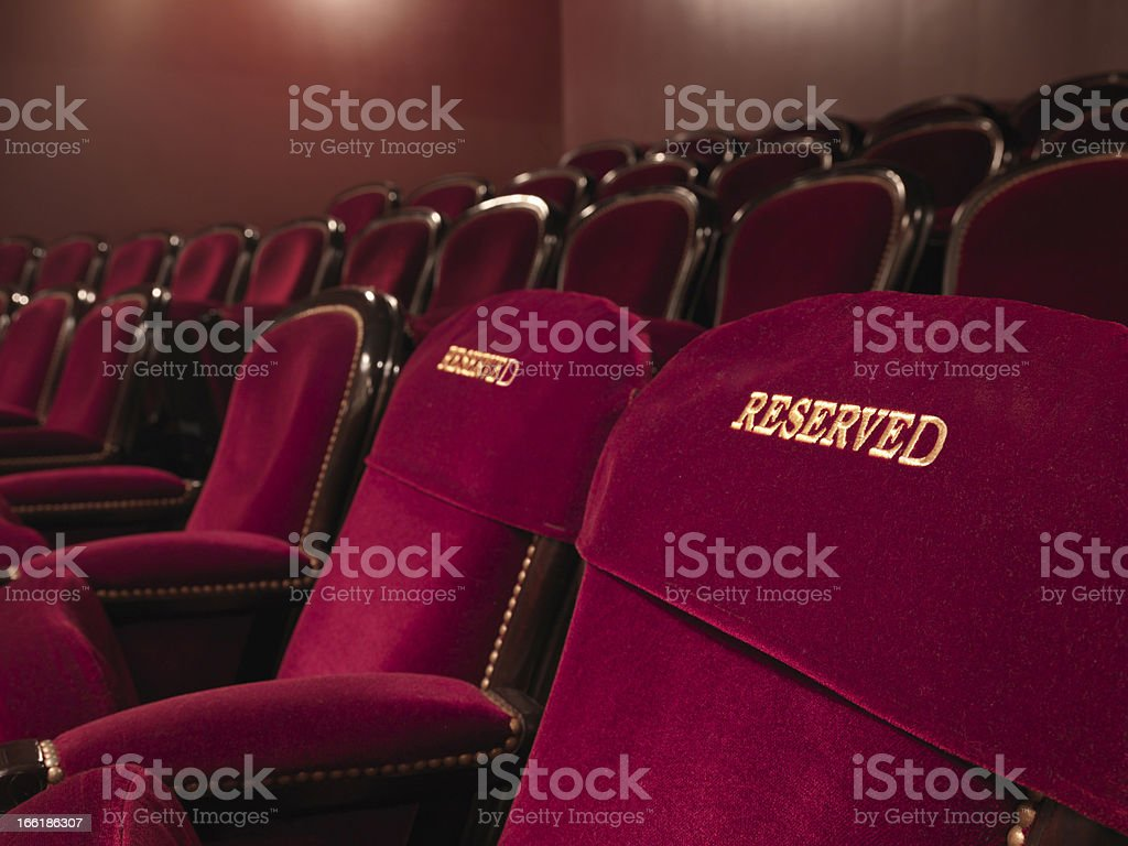 reserved theater seats stock photo
