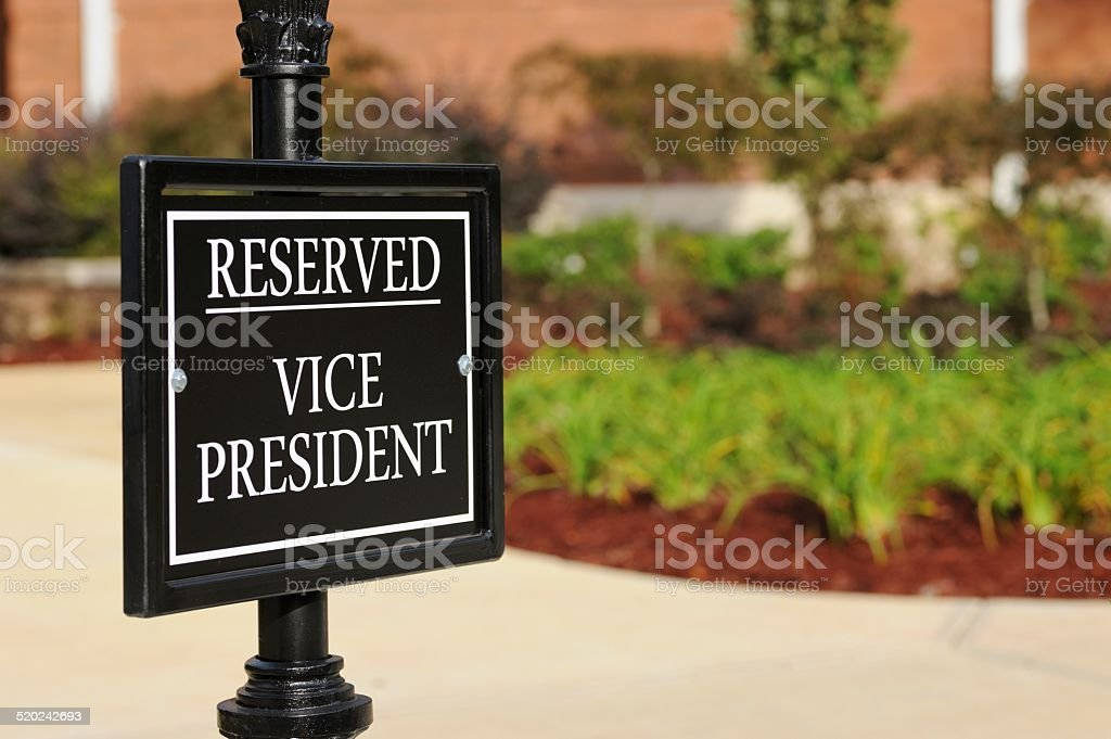 Reserved vice president sign stock photo