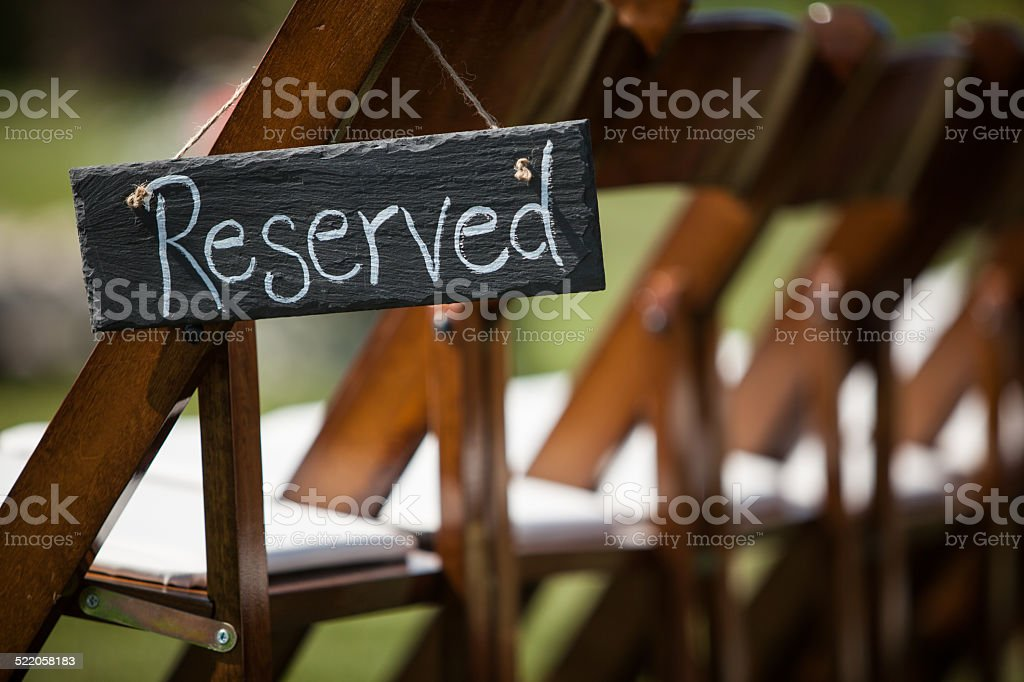 Reserved Wedding Seating stock photo