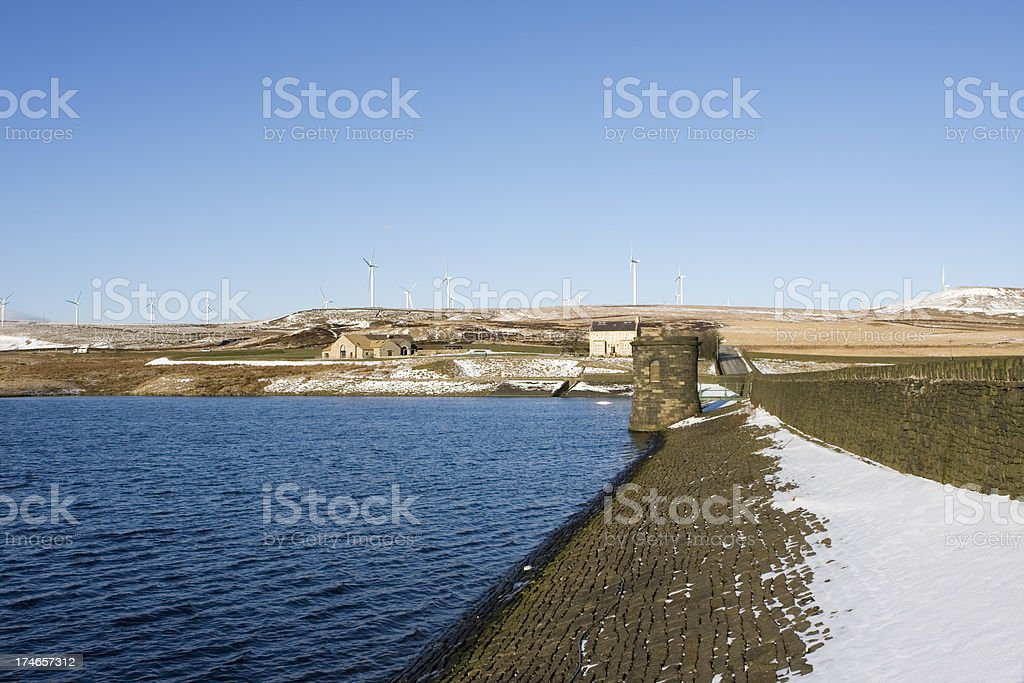 Reservoir and wind turbines royalty-free stock photo