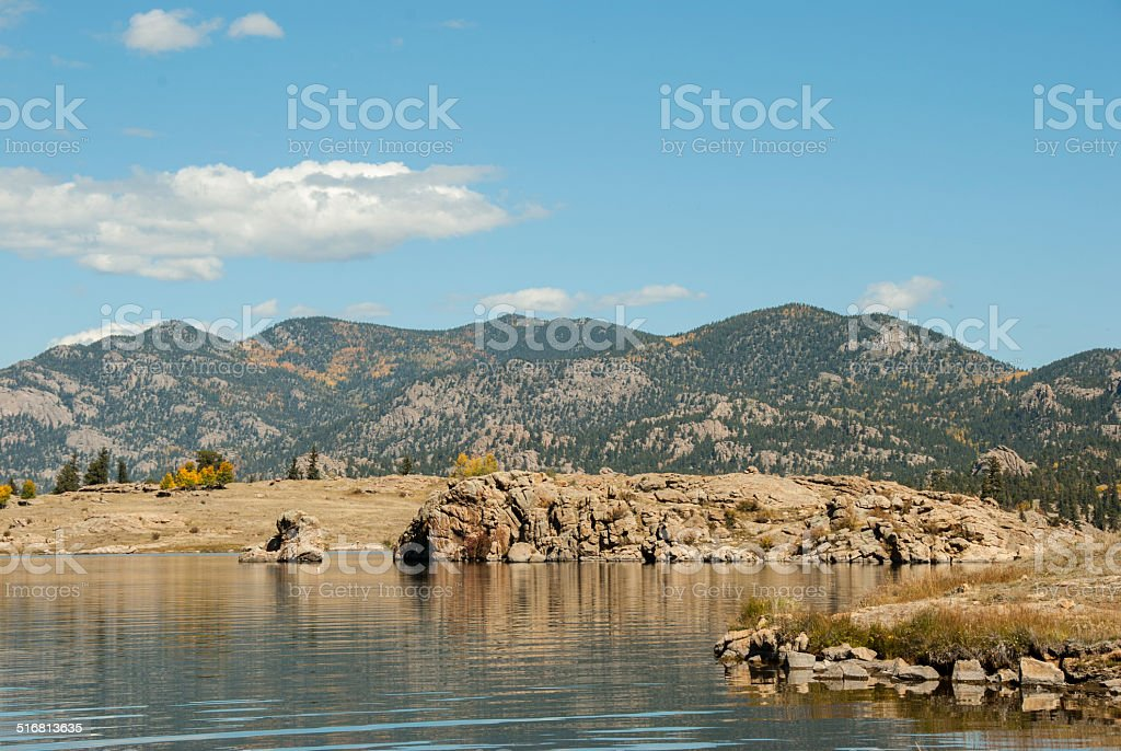 Reservoir at Eleven Mile State Park in Colorado stock photo