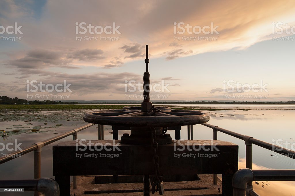 Reservoir  construction and maintenance Asia. Clean water projec stock photo