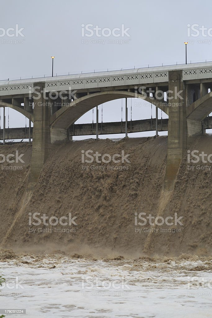Reservoir Dam Releases Water royalty-free stock photo