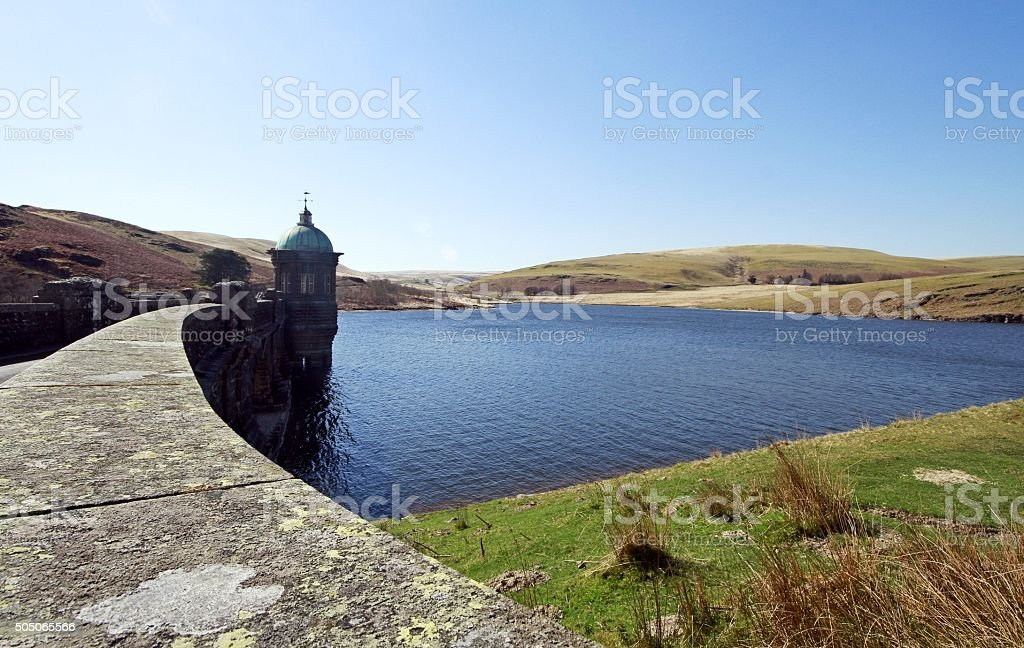 reservoir in mid Wales stock photo