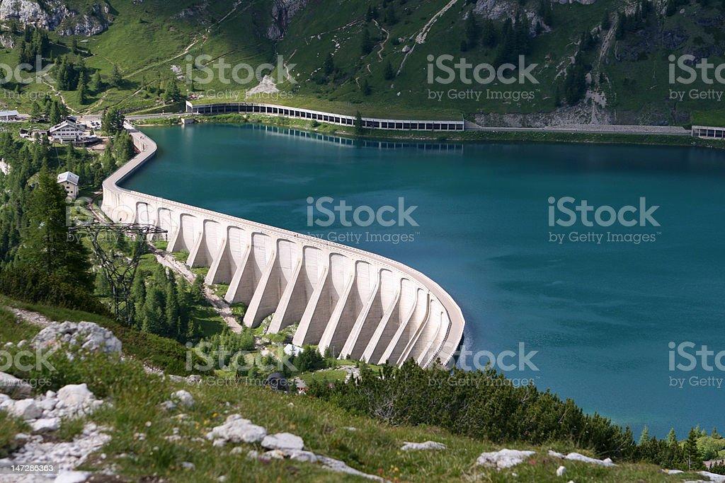 Reservoir Lago di Fedaia, Dolomiti, Italy stock photo