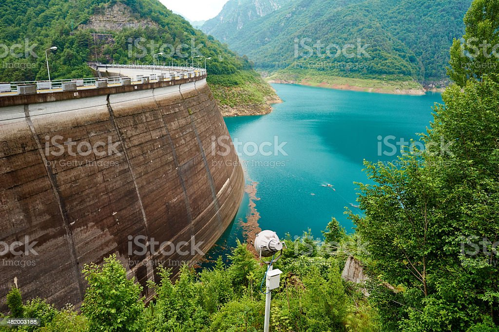 Reservoir Lake with massive Wall stock photo