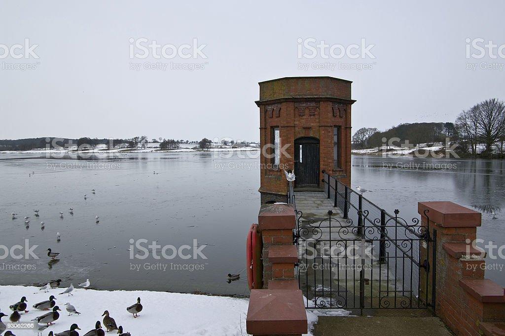 Reservoir scene in winter royalty-free stock photo