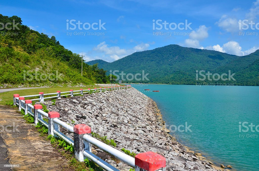 Reservoir with mountain view stock photo