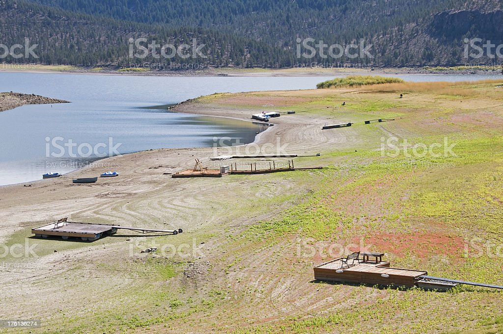 Reservoir's water level lowered by drought stock photo