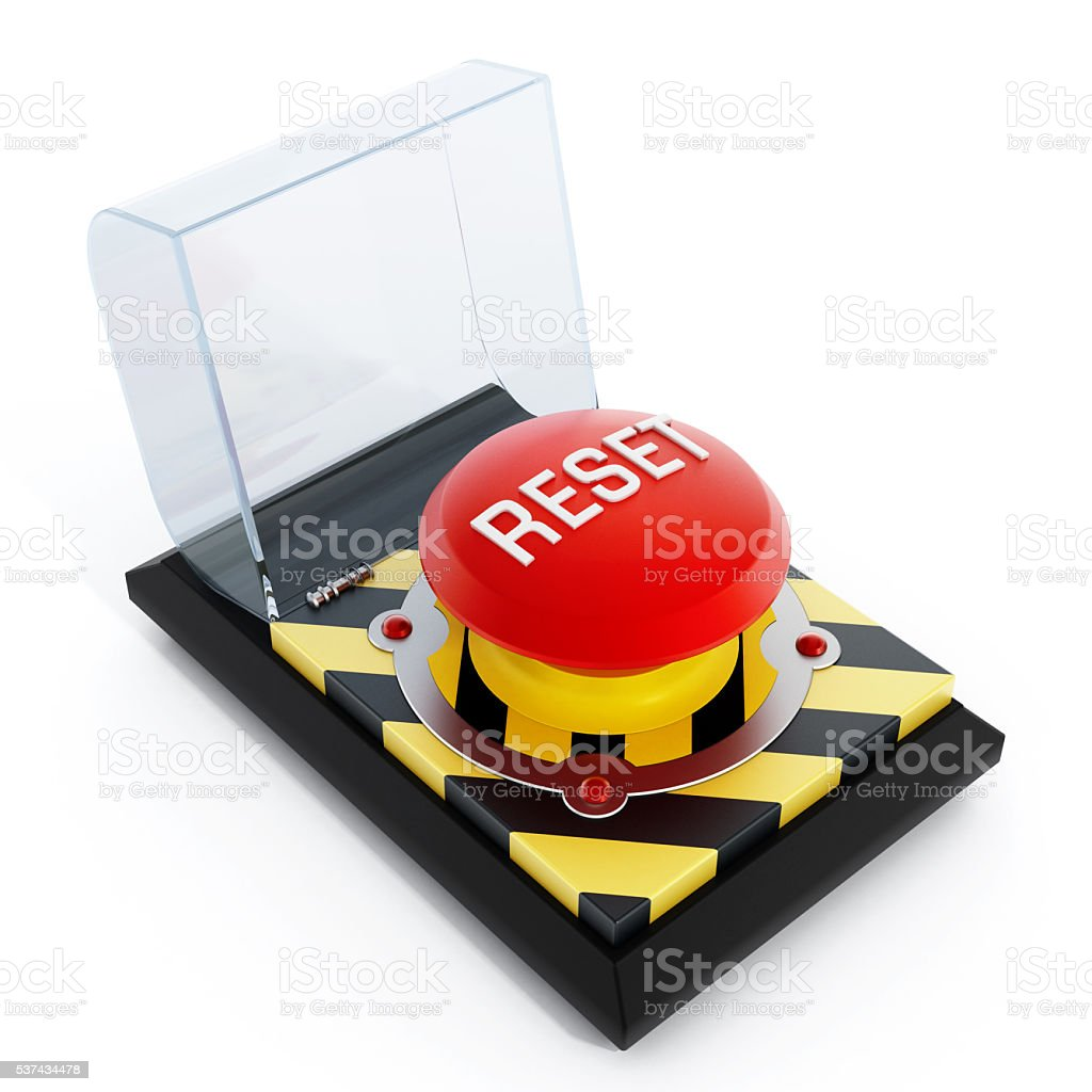 Reset button isolated on white stock photo