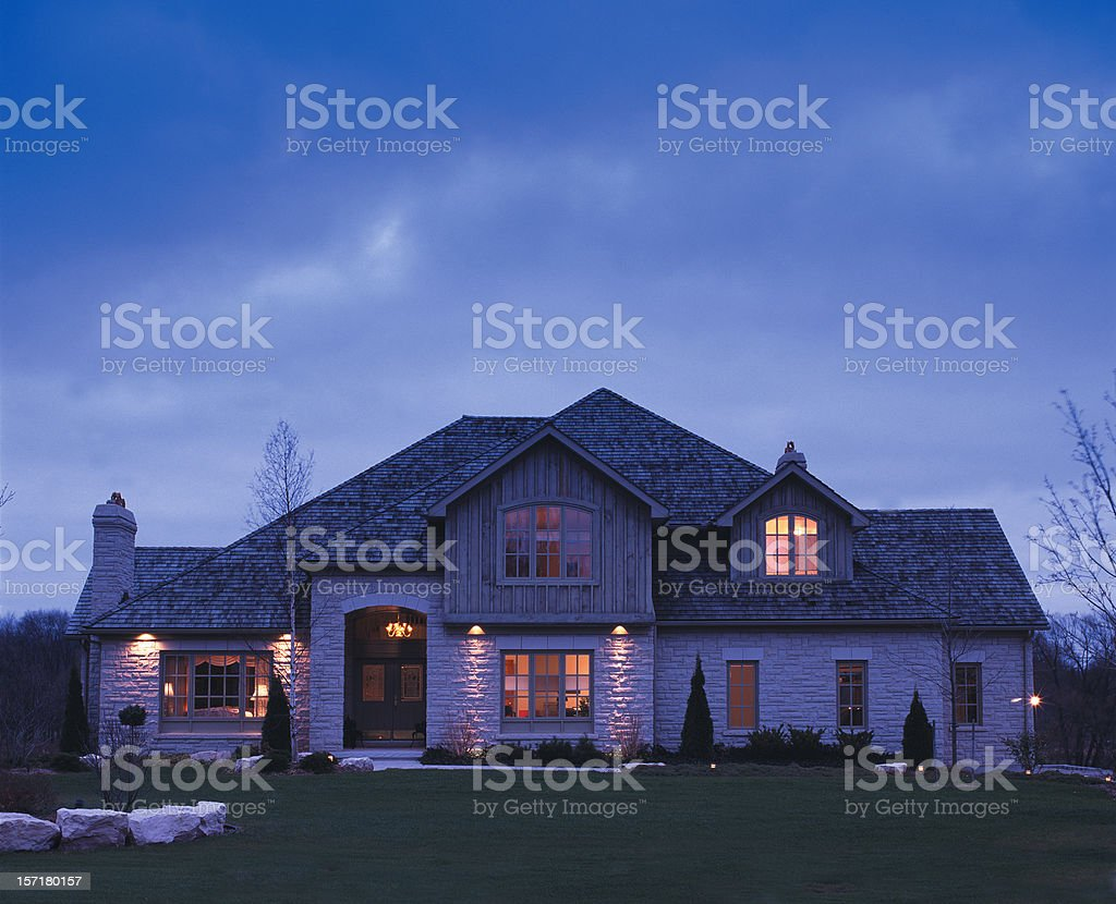 Residence at night stock photo