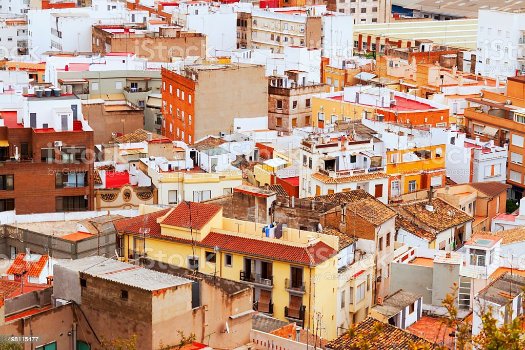 residence district of Sagunto in summer stock photo
