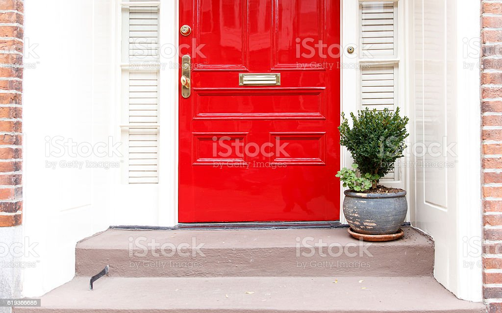 residence front entrance. sleek design stock photo